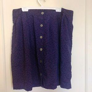 High-Waisted Button Skirt